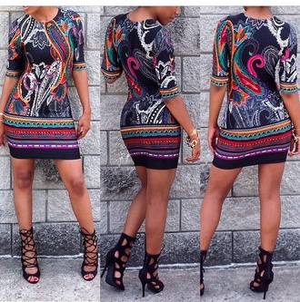print dress bodycon dress