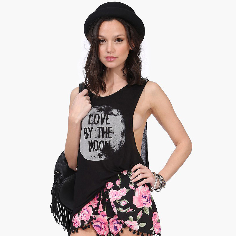 Aliexpress.com : buy european style women hot sale tank front love by the moon letter printed rounder collar sleeveless loose casual d438 from reliable collar band suppliers on richcoco apparel store