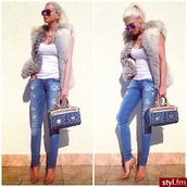 coat,jeans,shoes,ripped jeans,blue,blue jeans,tank top,white top,fur,fur coat,fur vest,faux fur jacket,sunglasses,louboutin,high heels,nude heels,slimmed,louis vuitton,bag,louis vuitton bag,jelena karleusa