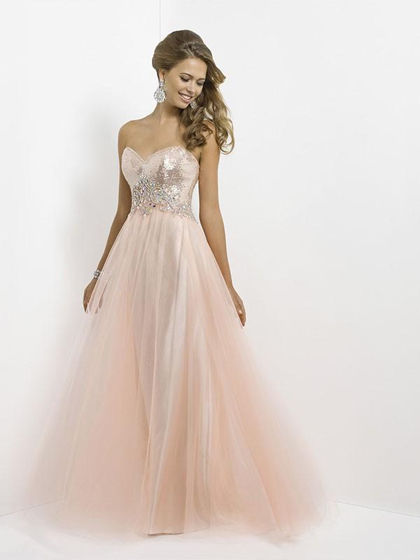 Pink A-line/Princess Liefje Kralen Mouwloos Floor-length Tule Prom Jurkjees voor €459,40