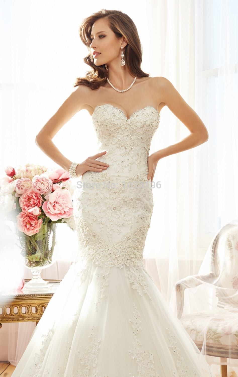 Buy sweetheart sleeveless mermaid tulle for Wedding dress appliques suppliers
