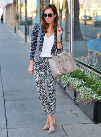 pants work outfits office outfits spring outfits cropped pants printed pants top white top jacket printed jacket bag tassel grey bag handbag pumps grey pumps pointed toe pumps high heel pumps sunglasses sydne style blogger