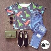 t-shirt,dinosaur,summer outfits,cute print,fashion,shein