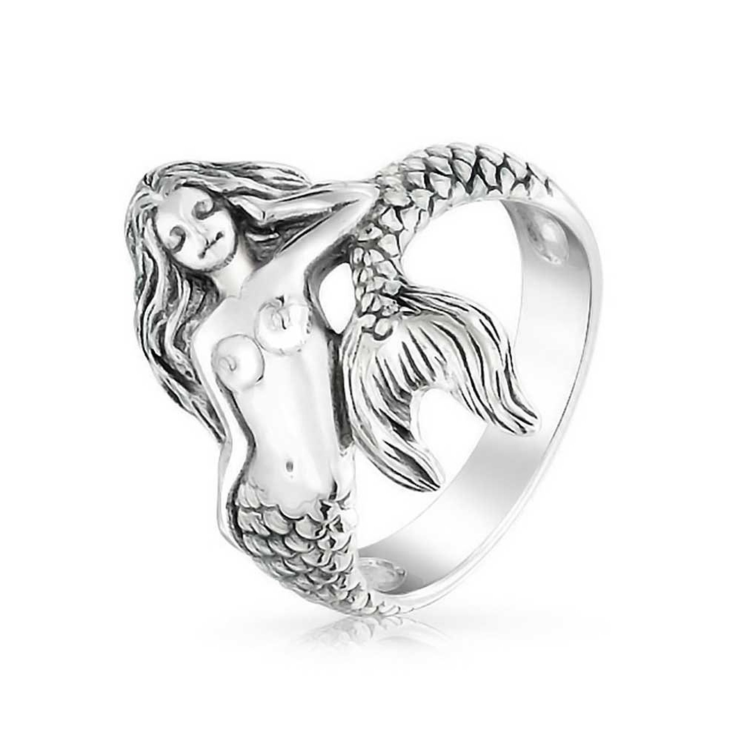 Amazon.com: bling jewelry 925 sterling silver antique nautical sea nymph mermaid ring: right hand rings: jewelry