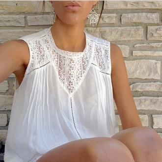white dentelle tank top top blouse cute girly white blouse white tank top summer top