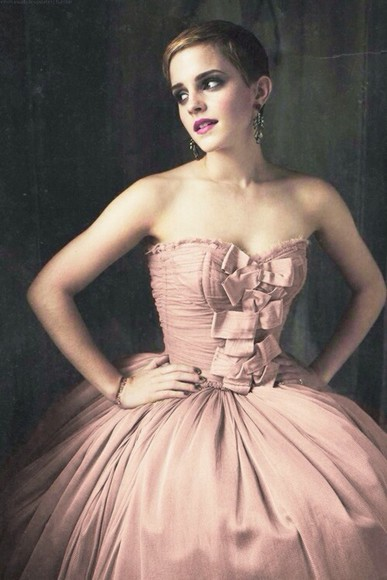 dress emma watson pink dress long dress,