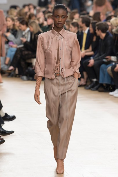 pants nina ricci runway Paris Fashion Week 2017 fashion week 2017 model blouse shirt top nude