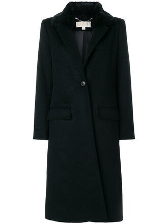 coat fur collar coat fur faux fur women spandex black wool