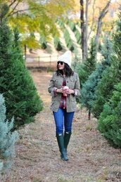 mystylevita,blogger,shirt,jacket,jeans,shoes,hat,winter outfits,beanie,wellies,army green jacket,plaid shirt