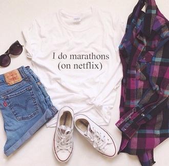 shirt t-shirt netflix white t-shirt plaid shirt cardigan jacket