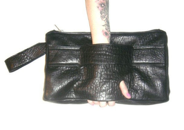 clutch leather black black bag