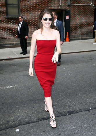 dress strapless red dress anna kendrick sandals midi dress bustier dress