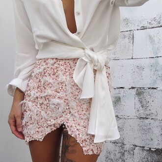 pink white skirt blouse jupe portefeuille tulip skirt sequins