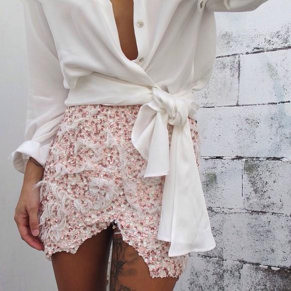 skirt tulip skirt pink white jupe portefeuille blouse sequins