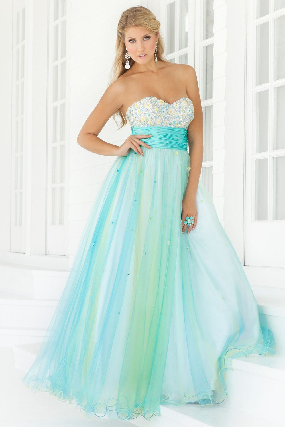 Buy 2013 Noble Bewitching Sweetheart Neckline Beads Working Column Blue Organza Satin Floor Length Prom Dress Online Cheap Prices