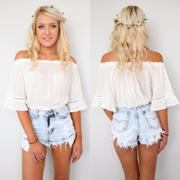 blouse white ivory top off the shoulder trumpet sleeves crop tops bohemian chiffon blouse shorts coachella dress boho