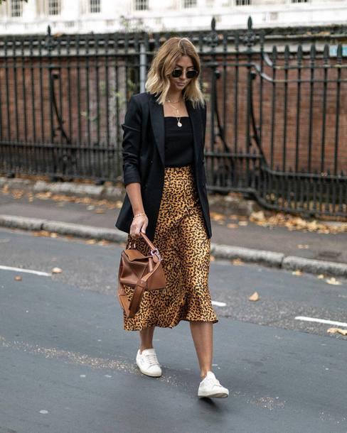 ab15346859b1f7 skirt, midi skirt, leopard print, silk, white sneakers, black blazer ...