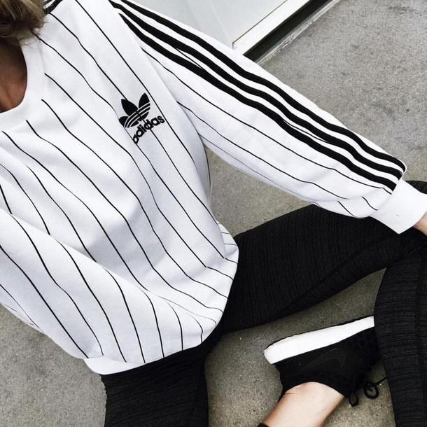 shirt adidas denmark sweater adidas sweater stripes adidas originals white sweater adidas originals top black white black and white