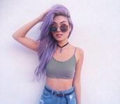 top,blakc and white,stripes,crop tops,crop,sunglasses,shirt,striped top,choker necklace,shades,hair,pastel hair,grudge outfit,high waisted jeans,shorts,nechlase