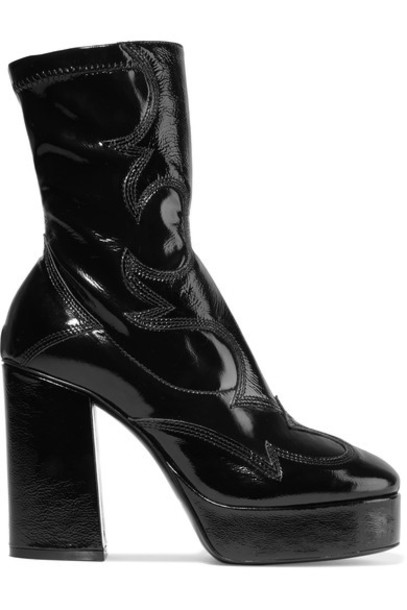 McQ Alexander McQueen leather ankle boots embroidered ankle boots leather black shoes