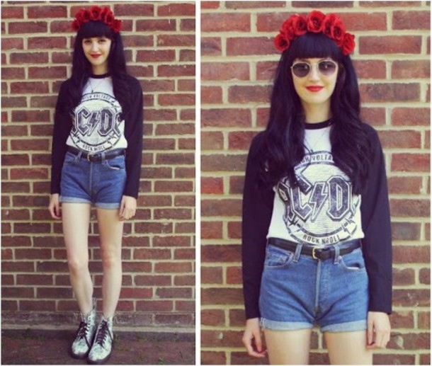 c358cc88765 shirt acdc acdc shirt flower crown red shorts High waisted shorts combat  boots long sleeves belt