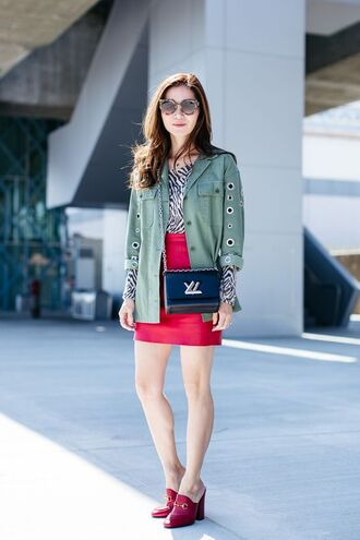 shoes gucci mules mules red shoes gucci gucci shoes skirt mini skirt red skirt top animal print jacket army green jacket bag crossbody bag black bag spring outfits louis vuitton bag louis vuitton