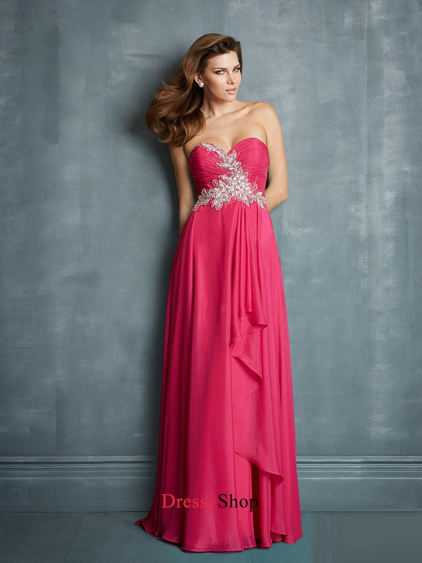 Sweetheart Ruched Bodice Beadings Layered Chiffon Prom Dress PD11388