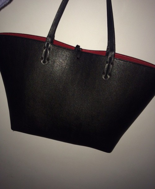Bag: black bag, bags purses, leather bag, black, red inside, cute ...