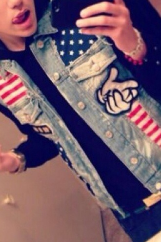 jacket mickey mouse hands swag guys july 4th
