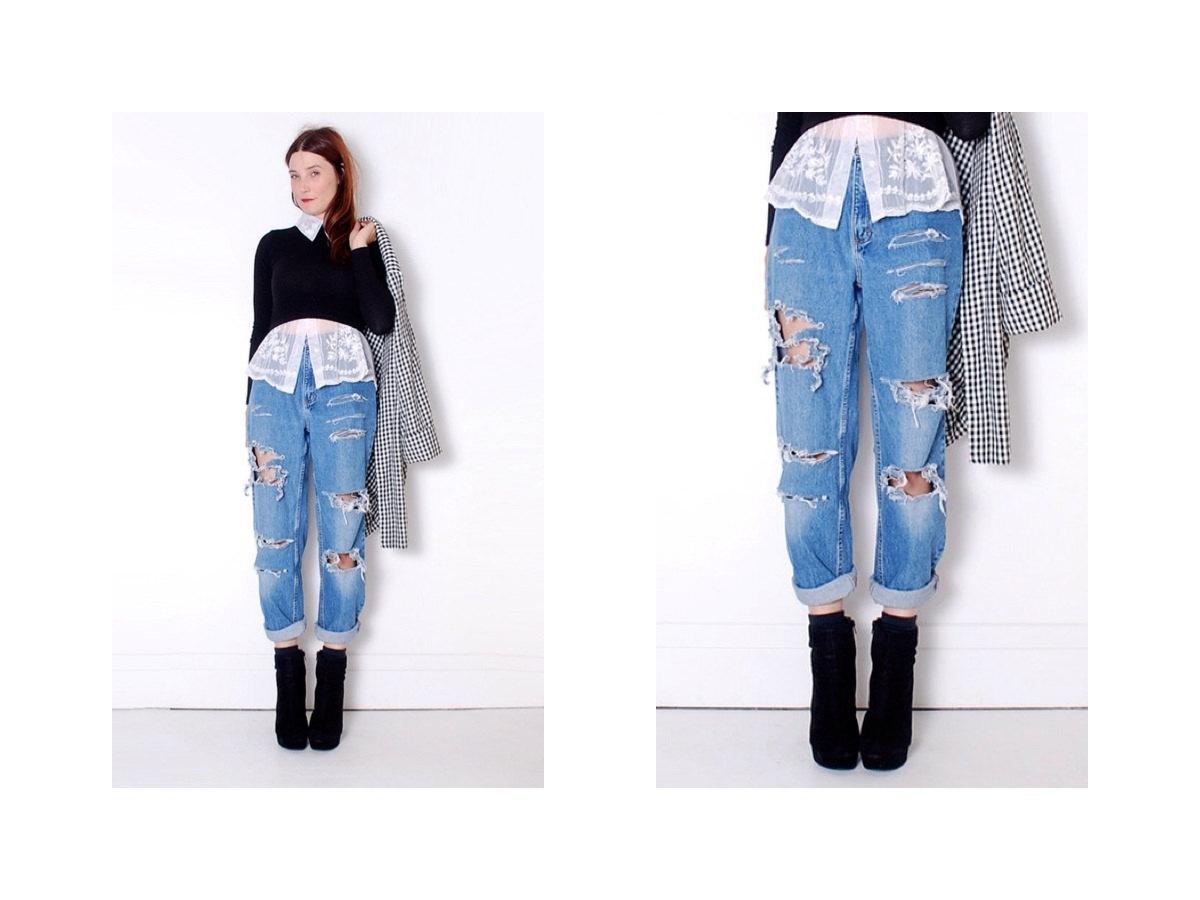 ripped boyfriend jeans 29 waist medium large // denim High waist ...