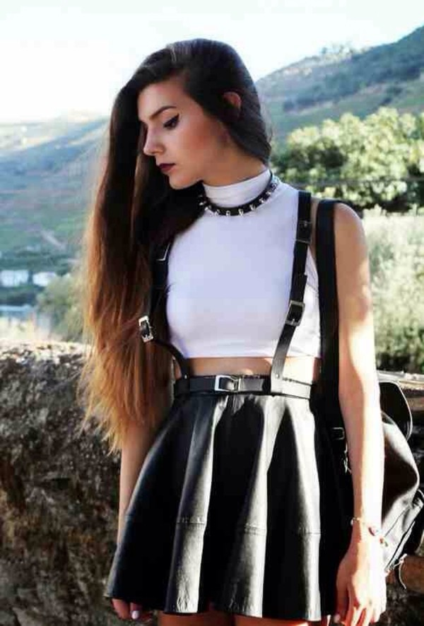 skirt black leather grunge girly black leather skirt overall skirt