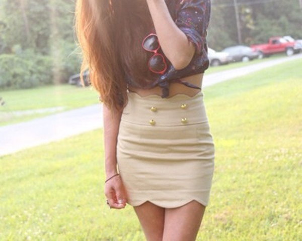 skirt beige skirt high waist skirts skirt