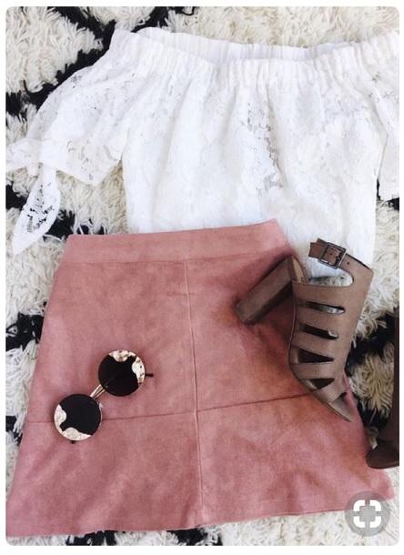 skirt pink velvet suede