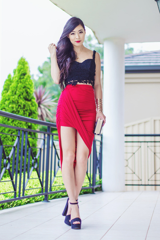 metallic paws blogger black crop top red skirt bodycon skirt asymmetrical skirt draped high heels red lime sunday
