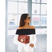 bag,tumblr,gucci,brown bag,sunglasses,off the shoulder,off the shoulder top,white top,top