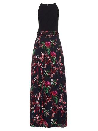 dress maxi dress maxi tropical floral print silk black
