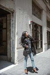 jacket,tumblr,blazer,black blazer,denim,jeans,blue jeans,ripped jeans,high heels,heels,black heels,bag,fall outfits
