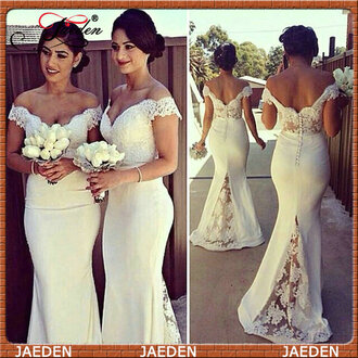 dress bridesmaid maxi dress jaedenbridal lace white bridesmaid dress prom dress lace dress prom gown white dress sexy off the shoulder long dress rose wholesale
