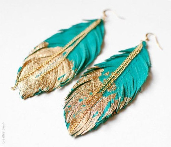 jewels feather feather earrings gold leaf gold glitter earrings feathers turquoise glitter