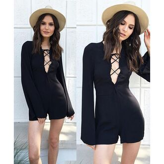 romper lace up front lace up bell sleeve romper bell sleeves black romper little black dress angl