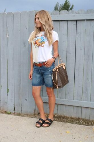 birdalamode blogger shirt shorts belt sandals denim shorts louis vuitton bag summer outfits