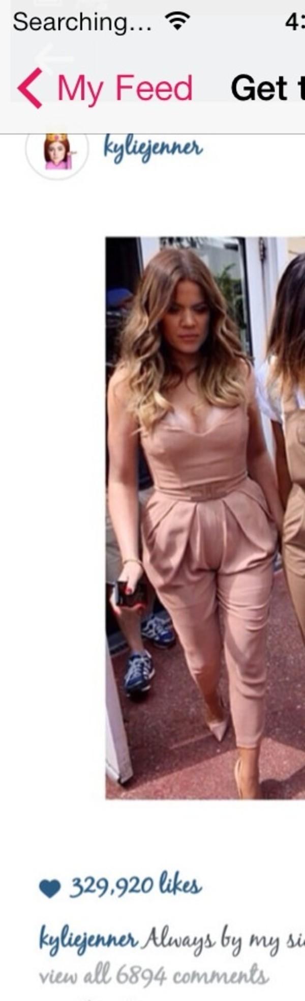 Dress: khloe kardashian, jumpsuit, blush pink, summer, summer ...