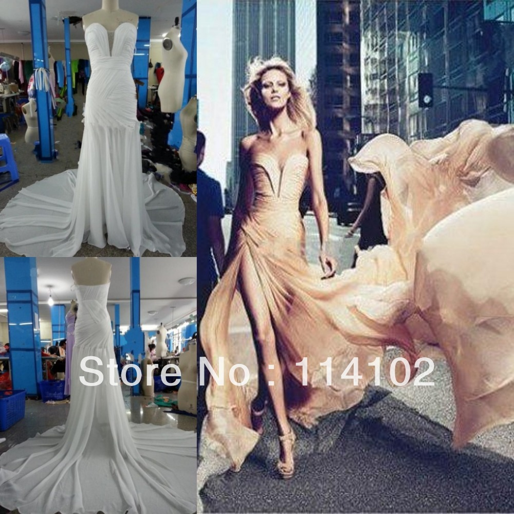 Free shipping 2013 Anja Rubik sweetheart draped off shoulder long elie saab evening dresses-in Evening Dresses from Apparel & Accessories on Aliexpress.com