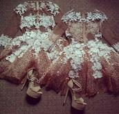 dress,creme,lace,short,see through dress,short homecoming dress