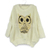 Korean Women Fashion Loose Round Collar Long Sleeve Owl Pattern Sweater Blouse Tops