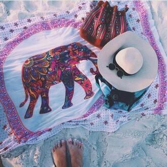 home accessory elephant boho hippie towel tapestry beach blanket