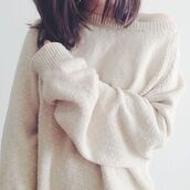 clothes,jumper,sweater,tumblr,tumblr girl,tumblr clothes,tumblr outfit,cream,oversized sweater,oversized,fluffy,winter sweater,winter outfits,snuggle,white,loose fit sweater,knitwear,cozy,cozy sweater