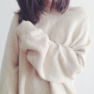 sweater white loose fit sweater