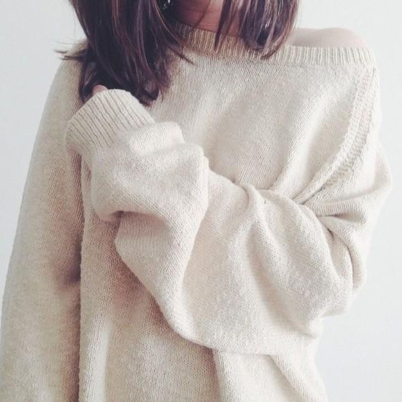sweater oversized cream jumper clothes tumblr tumblr girl tumblr clothes tumblr outfit oversized sweater fluffy winter sweater winter outfits snuggle