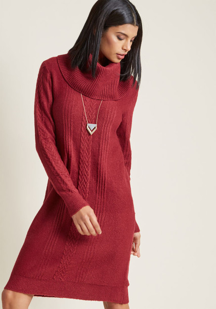 MCD1424 dress sweater dress long cozy knit red